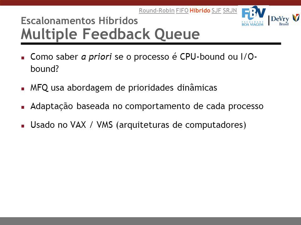 Escalonamentos Híbridos Multiple Feedback Queue n Como saber a priori se o processo é CPU-bound ou I/O- bound? n MFQ usa abordagem de prioridades dinâ