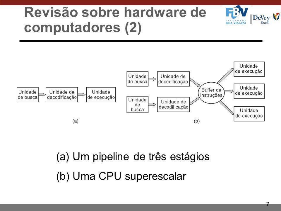 7 Revisão sobre hardware de computadores (2) (a) Um pipeline de três estágios (b) Uma CPU superescalar