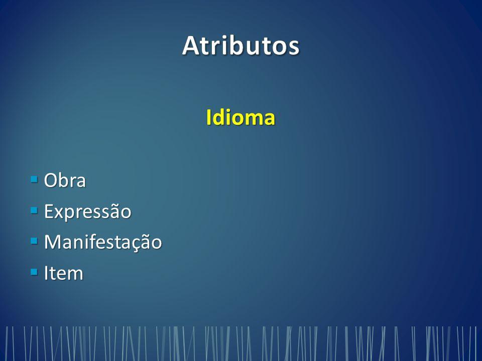 Idioma  Obra  Expressão  Manifestação  Item
