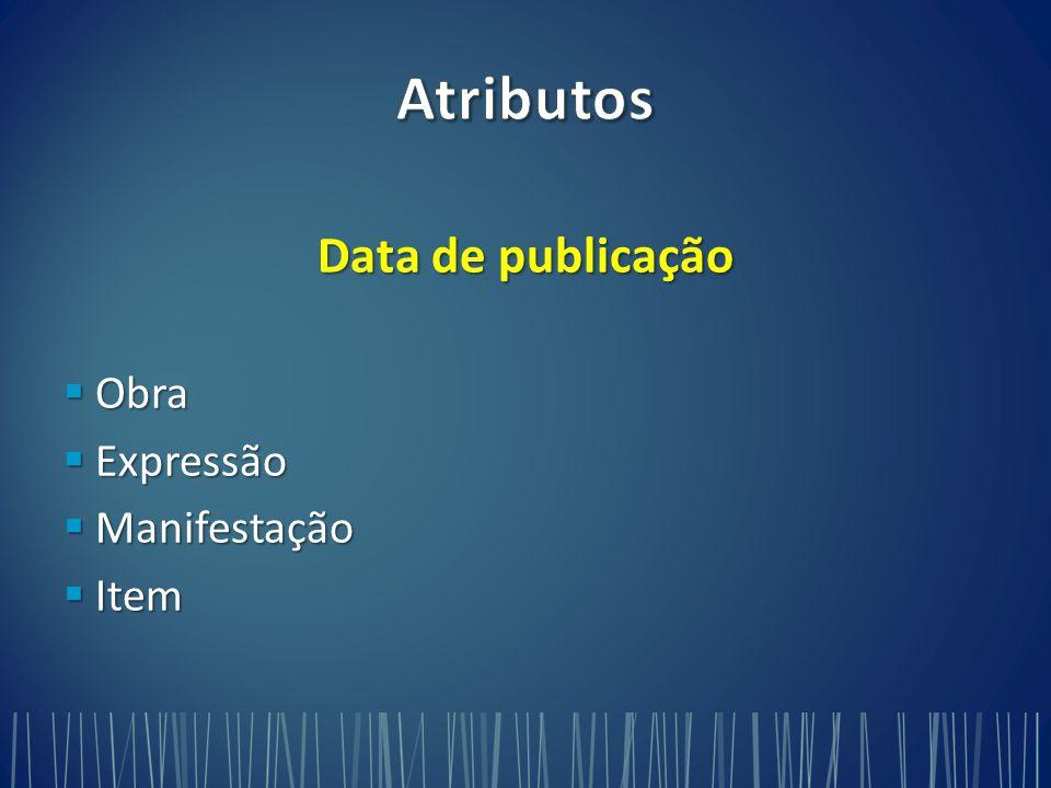 Data de publicação  Obra  Expressão  Manifestação  Item