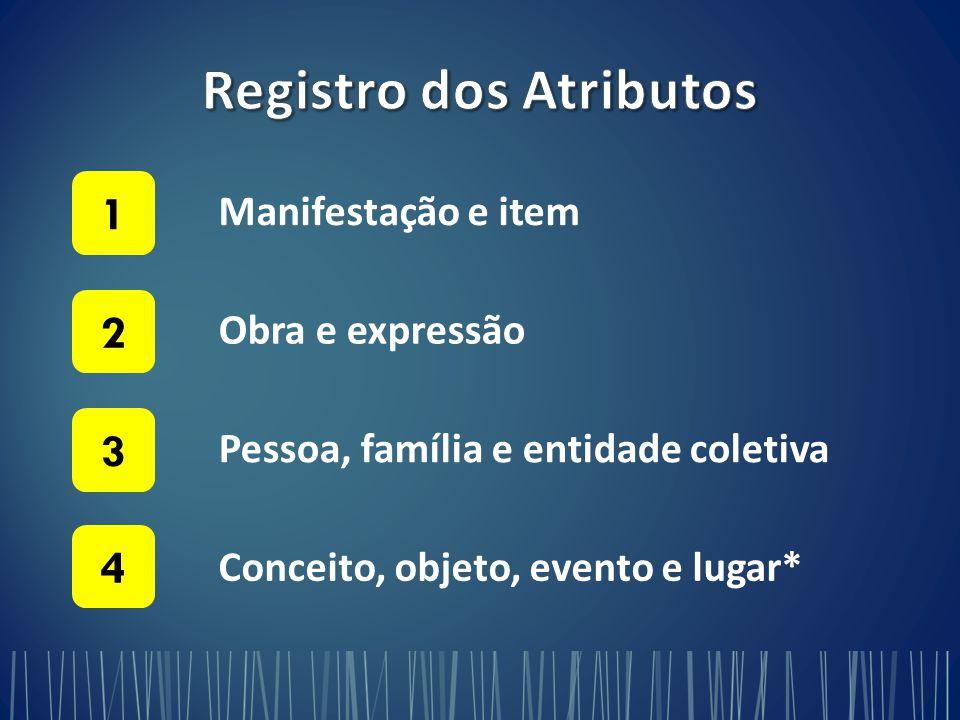 Manifestação e item 1 Obra e expressão 2 Pessoa, família e entidade coletiva 3 Conceito, objeto, evento e lugar* 4