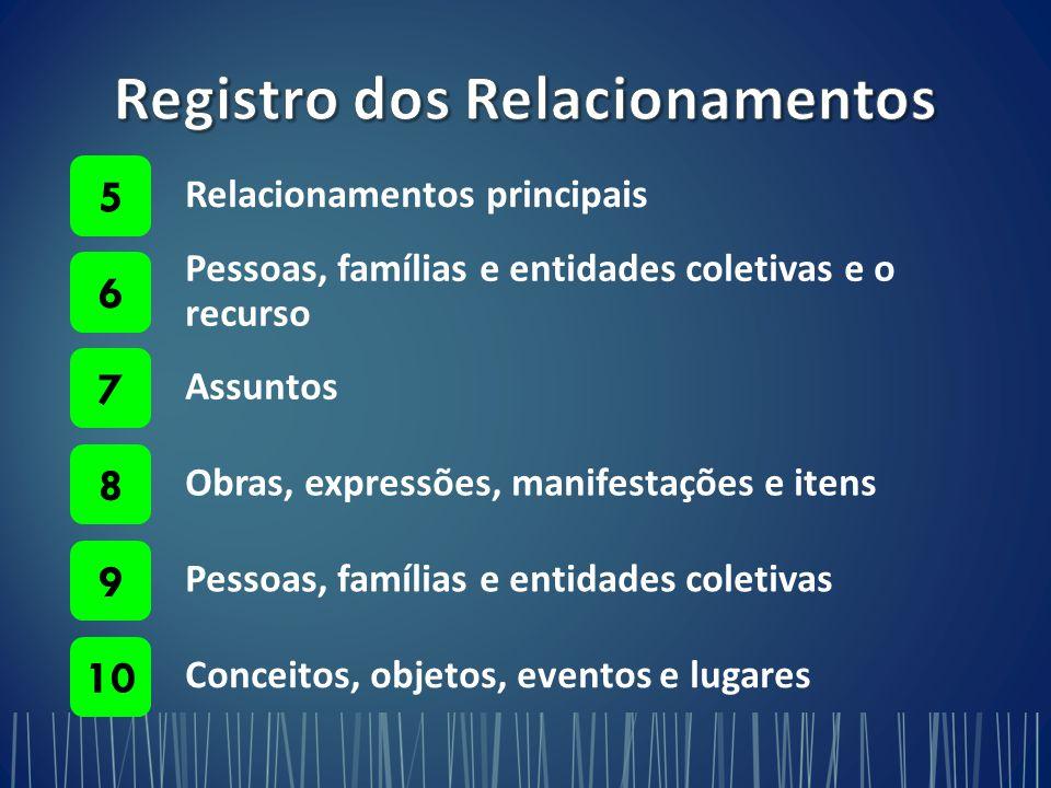 Relacionamentos principais 5 Pessoas, famílias e entidades coletivas e o recurso 6 Assuntos 7 Obras, expressões, manifestações e itens 8 Pessoas, famílias e entidades coletivas 9 Conceitos, objetos, eventos e lugares 10
