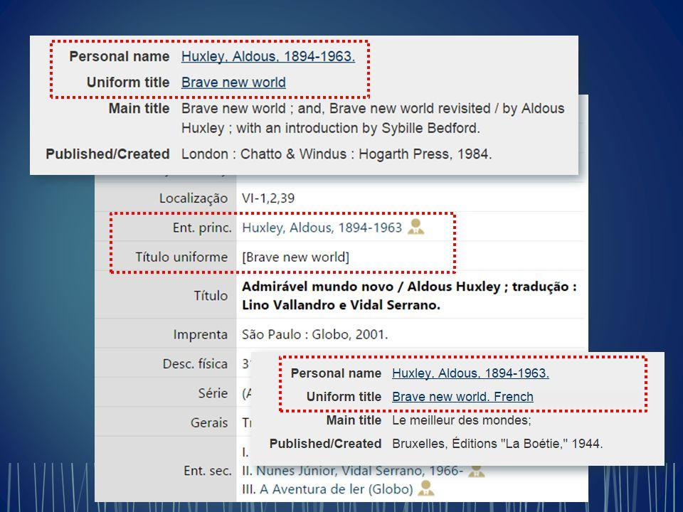  Regras de catalogação (AACR2, RDA, etc.)  Conjuntos de instruções para o registro dos dados catalográficos  Formatos (MARC 21, UNIMARC, etc.)  Estruturas para a identificação dos dados catalográficos durante seu processamento por computadores As regras de catalogação independem dos formatos