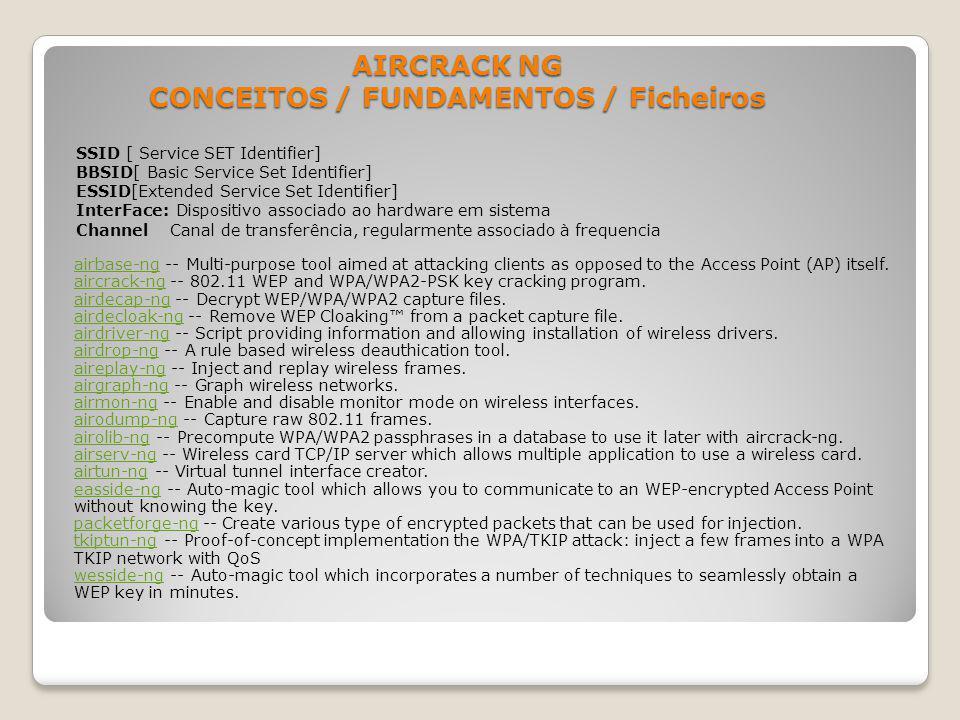 AIRCRACK NG CONCEITOS / FUNDAMENTOS / Ficheiros SSID [ Service SET Identifier] BBSID[ Basic Service Set Identifier] ESSID[Extended Service Set Identif