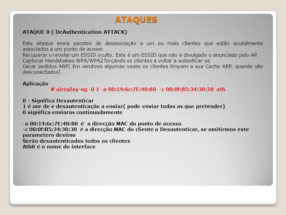 ATAQUES ATAQUE 0 ( DeAuthentication ATTACK) Este ataque envia pacotes de desasociação a um ou mais clientes que estão acutalmente associados a um pont