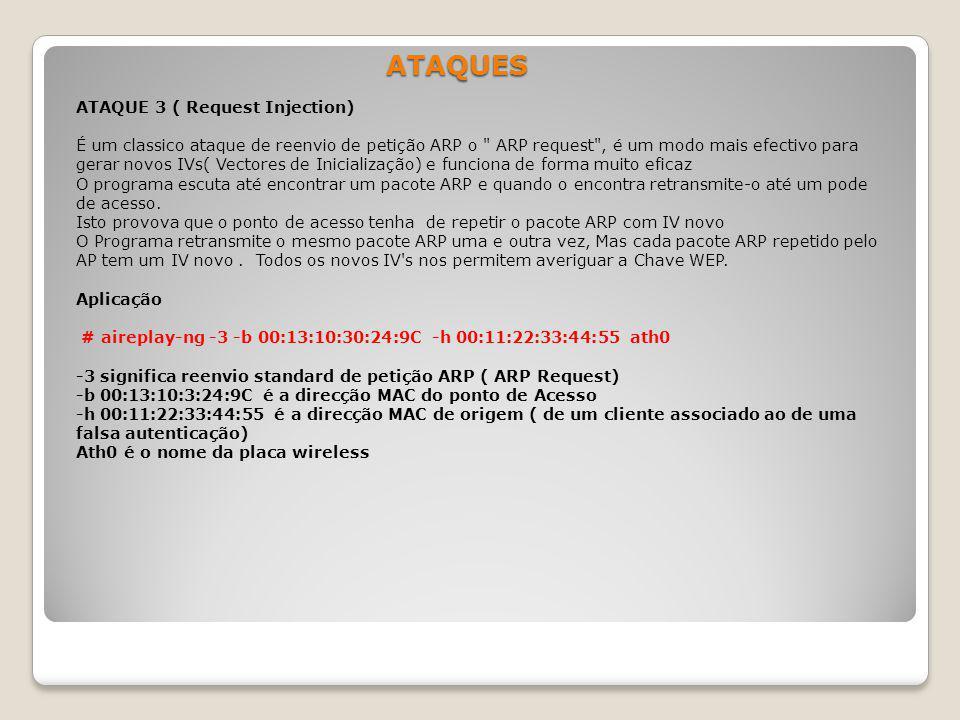ATAQUES ATAQUE 3 ( Request Injection) É um classico ataque de reenvio de petição ARP o