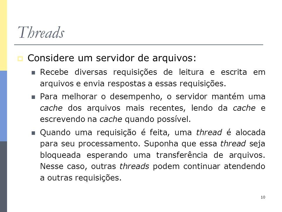 10 Threads  Considere um servidor de arquivos: Recebe diversas requisições de leitura e escrita em arquivos e envia respostas a essas requisições. Pa