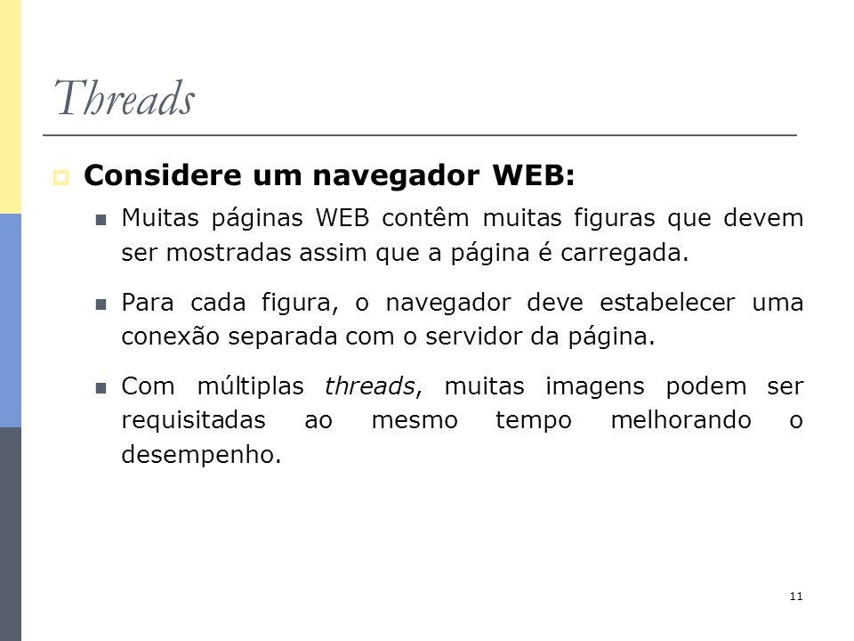 11 Threads  Considere um navegador WEB: Muitas páginas WEB contêm muitas figuras que devem ser mostradas assim que a página é carregada. Para cada fi