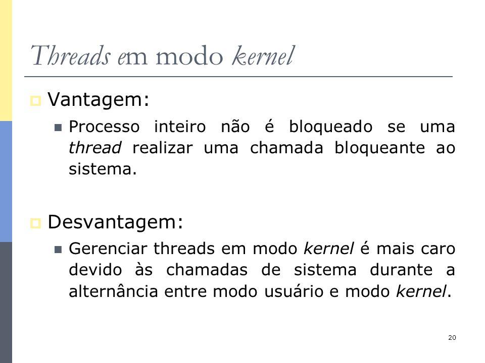 20 Threads em modo kernel  Vantagem: Processo inteiro não é bloqueado se uma thread realizar uma chamada bloqueante ao sistema.  Desvantagem: Gerenc