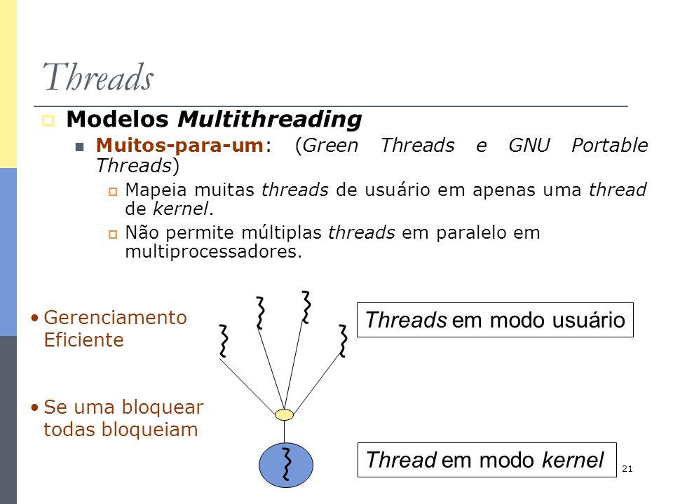21 Threads  Modelos Multithreading Muitos-para-um: (Green Threads e GNU Portable Threads)  Mapeia muitas threads de usuário em apenas uma thread de