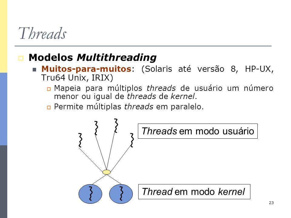 23 Threads  Modelos Multithreading Muitos-para-muitos: (Solaris até versão 8, HP-UX, Tru64 Unix, IRIX)  Mapeia para múltiplos threads de usuário um