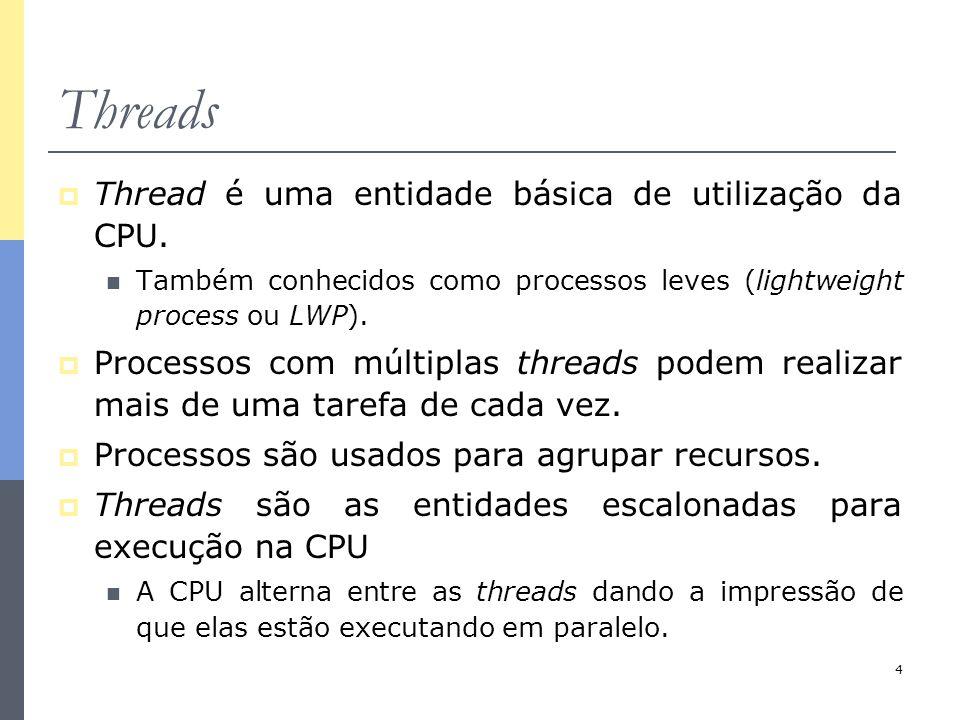 4 Threads  Thread é uma entidade básica de utilização da CPU. Também conhecidos como processos leves (lightweight process ou LWP).  Processos com mú