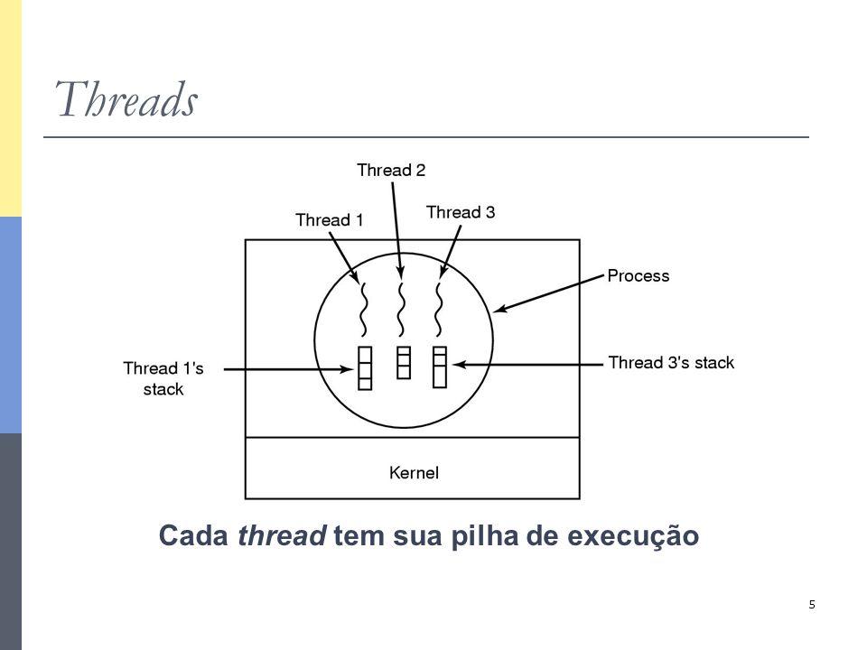 26 Threads em C PThreads Programa principal pthread_create( &thread1, NULL, proc1, &arg); pthread_join( thread1, NULL, *status); thread1 proc1(&arg); { return(&status); } Thread pode ser desunida (detached) join não é necessário Código da thread