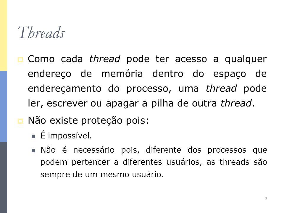 8 Threads  Como cada thread pode ter acesso a qualquer endereço de memória dentro do espaço de endereçamento do processo, uma thread pode ler, escrev