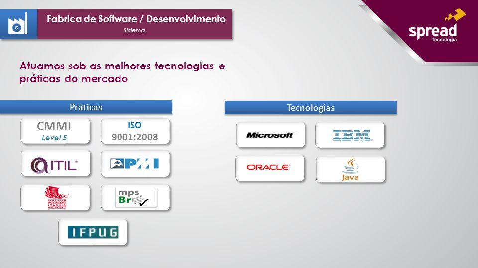 ISO 9001:2008 ISO 9001:2008 CMMI Level 5 Práticas Tecnologias Sistema Fabrica de Software / Desenvolvimento Atuamos sob as melhores tecnologias e práticas do mercado