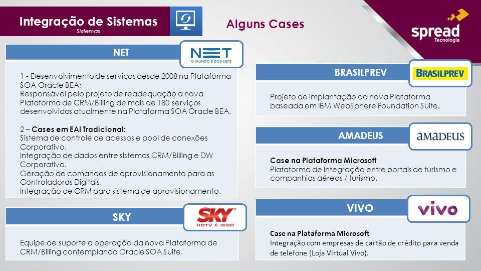 Integração de Sistemas Sistemas Alguns Cases NET 1 - Desenvolvimento de serviços desde 2008 na Plataforma SOA Oracle BEA; Responsável pelo projeto de readequação a nova Plataforma de CRM/Billing de mais de 180 serviços desenvolvidos atualmente na Plataforma SOA Oracle BEA.