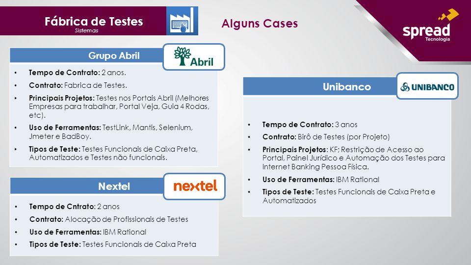 Fábrica de Testes Sistemas Alguns Cases Grupo Abril Tempo de Contrato: 2 anos.