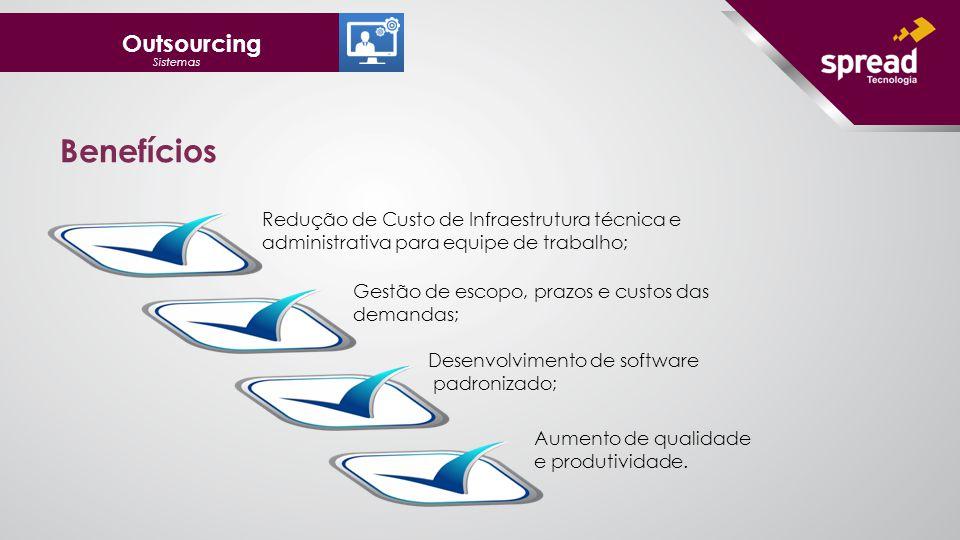 Outsourcing Sistemas Redução de Custo de Infraestrutura técnica e administrativa para equipe de trabalho; Gestão de escopo, prazos e custos das demandas; Desenvolvimento de software padronizado; Aumento de qualidade e produtividade.