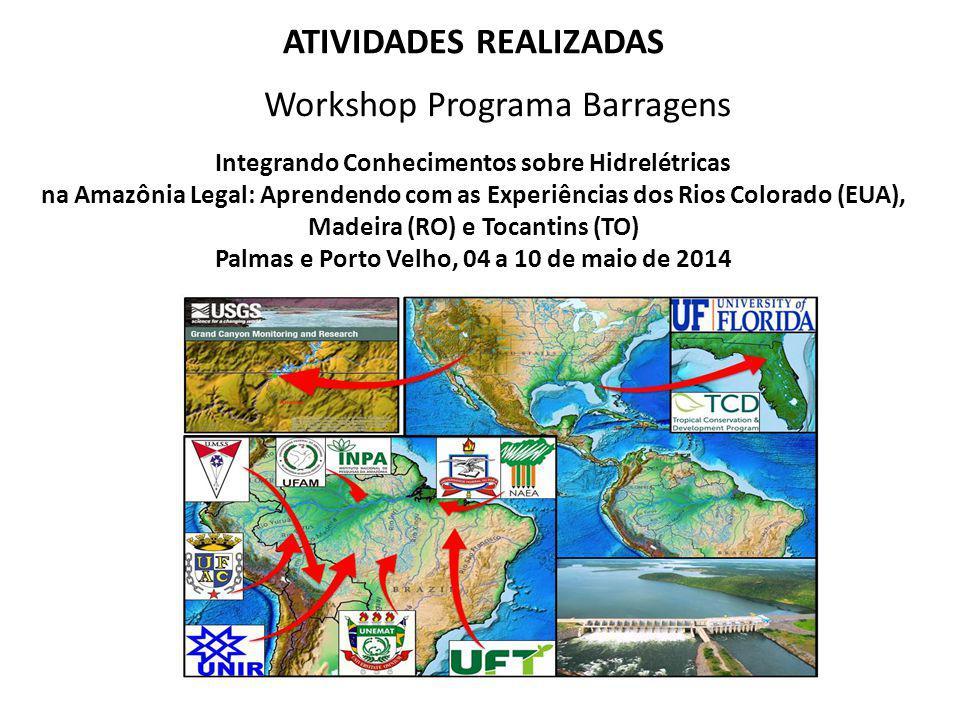 ATIVIDADES REALIZADAS Workshop Programa Barragens Integrando Conhecimentos sobre Hidrelétricas na Amazônia Legal: Aprendendo com as Experiências dos R