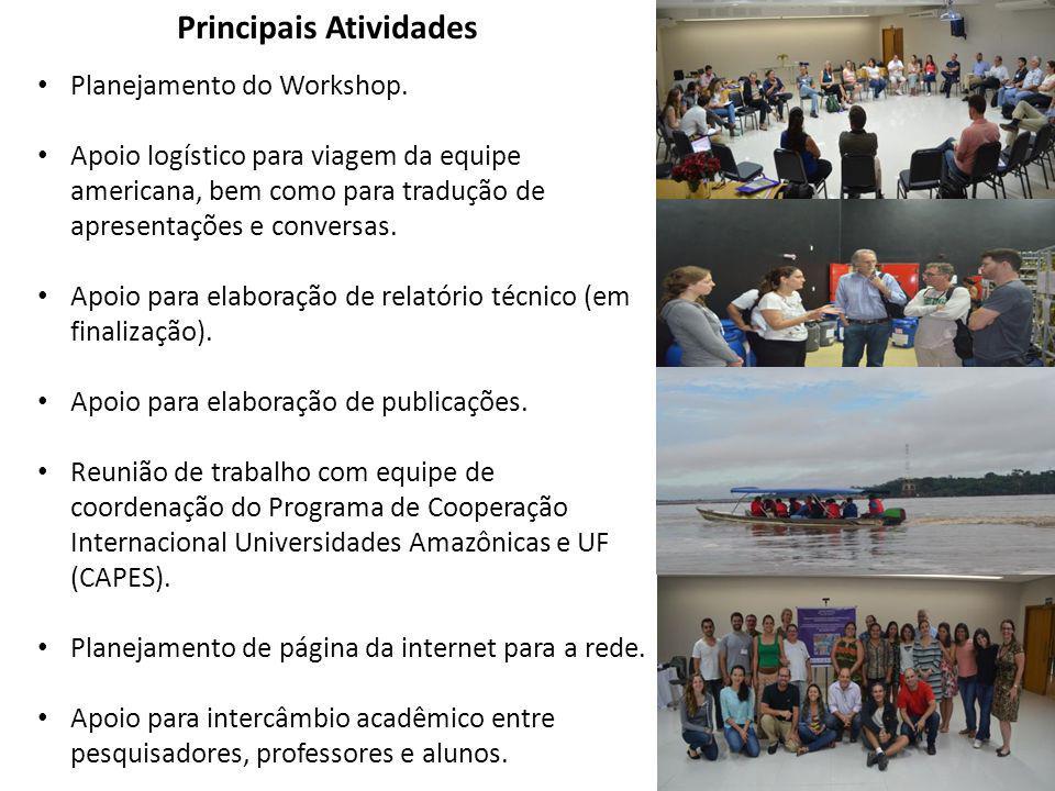 Principais Atividades Planejamento do Workshop. Apoio logístico para viagem da equipe americana, bem como para tradução de apresentações e conversas.