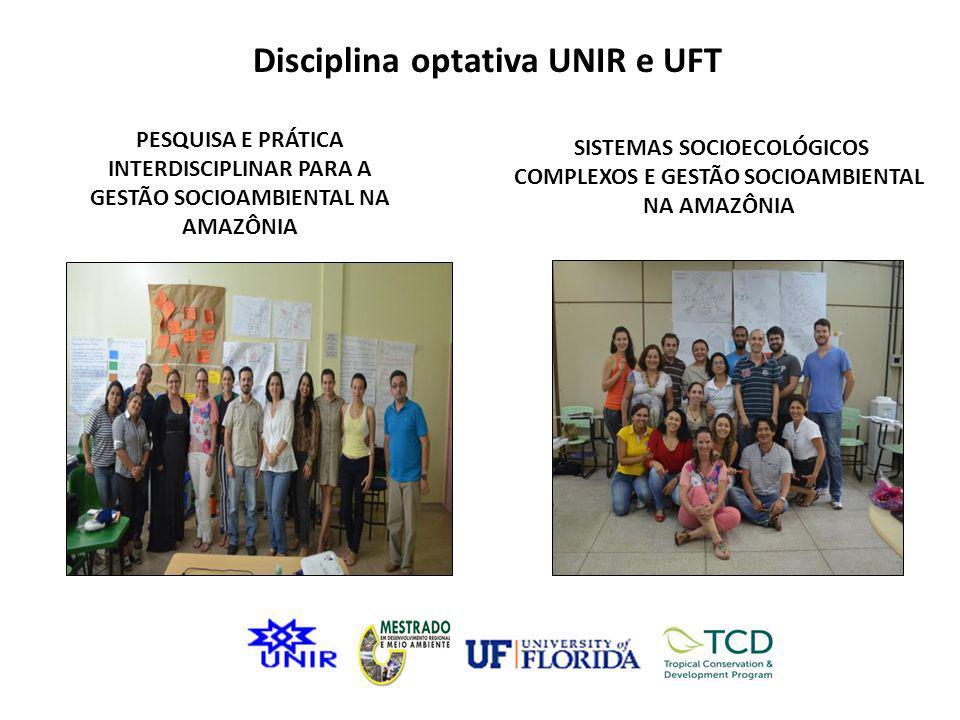 Disciplina optativa UNIR e UFT PESQUISA E PRÁTICA INTERDISCIPLINAR PARA A GESTÃO SOCIOAMBIENTAL NA AMAZÔNIA SISTEMAS SOCIOECOLÓGICOS COMPLEXOS E GESTÃ