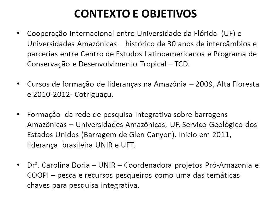 CONTEXTO E OBJETIVOS Cooperação internacional entre Universidade da Flórida (UF) e Universidades Amazônicas – histórico de 30 anos de intercâmbios e p