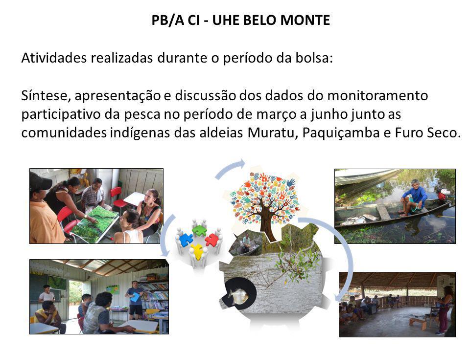 PB/A CI - UHE BELO MONTE Atividades realizadas durante o período da bolsa: Síntese, apresentação e discussão dos dados do monitoramento participativo