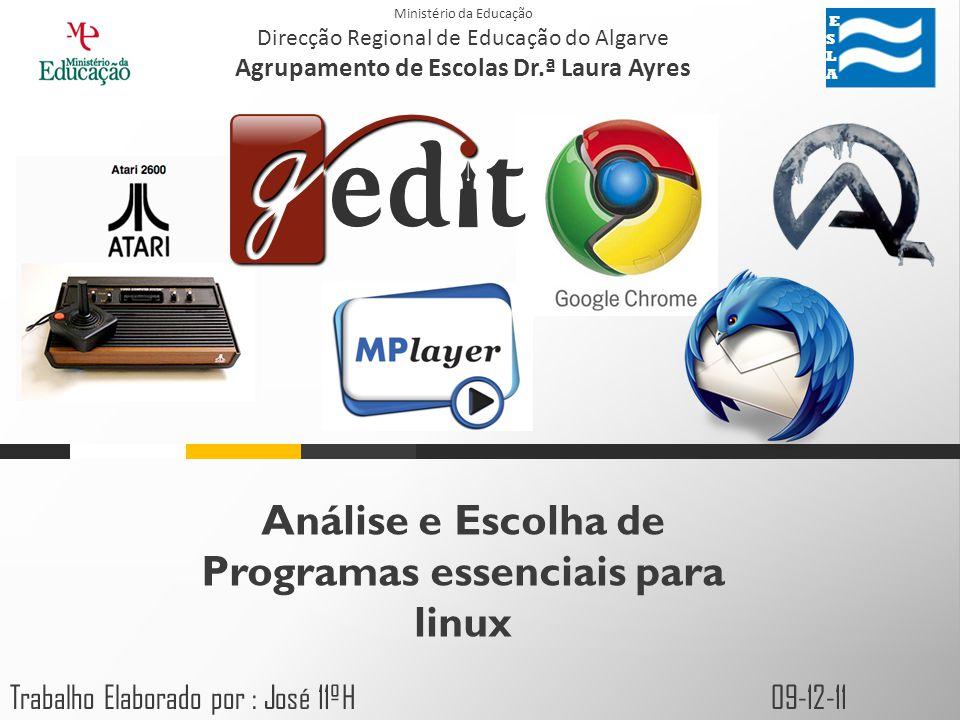 Índice Editor de Texto; Emulador de Jogos; Jogos; Web Browser; Email; Ferramentas Visualização de média; Aplicações de Escritório; Software de Fotografia; Segurança; ESLA ESLA