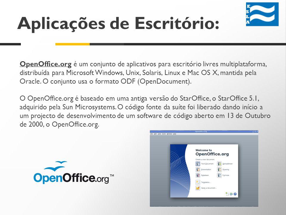 Aplicações de Escritório: ESLA ESLA OpenOffice.org é um conjunto de aplicativos para escritório livres multiplataforma, distribuída para Microsoft Windows, Unix, Solaris, Linux e Mac OS X, mantida pela Oracle.