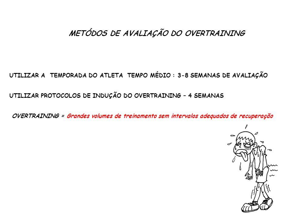 METÓDOS DE AVALIAÇÃO DO OVERTRAINING UTILIZAR A TEMPORADA DO ATLETA TEMPO MÉDIO : 3-8 SEMANAS DE AVALIAÇÃO UTILIZAR PROTOCOLOS DE INDUÇÃO DO OVERTRAIN