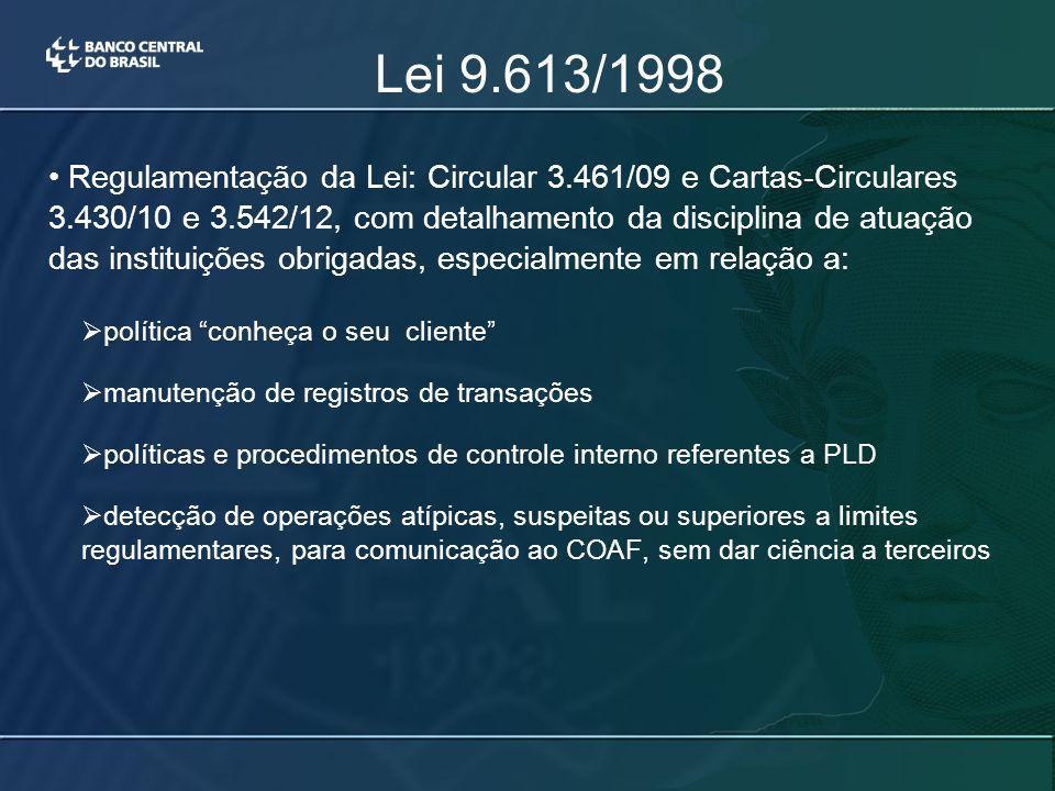 Lei 9.613/1998 Regulamentação da Lei: Circular 3.461/09 e Cartas-Circulares 3.430/10 e 3.542/12, com detalhamento da disciplina de atuação das instituições obrigadas, especialmente em relação a:  política conheça o seu cliente  manutenção de registros de transações  políticas e procedimentos de controle interno referentes a PLD  detecção de operações atípicas, suspeitas ou superiores a limites regulamentares, para comunicação ao COAF, sem dar ciência a terceiros