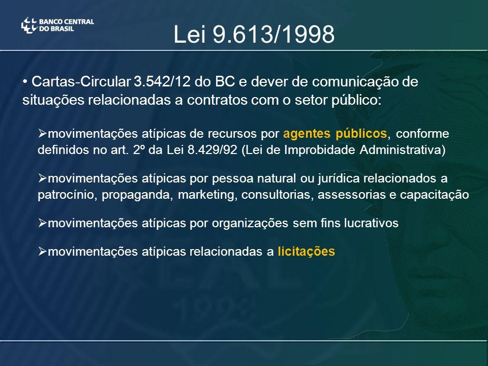 Lei 9.613/1998 Cartas-Circular 3.542/12 do BC e dever de comunicação de situações relacionadas a contratos com o setor público:  movimentações atípicas de recursos por agentes públicos, conforme definidos no art.