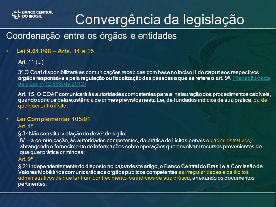 Coordenação entre os órgãos e entidades Lei 9.613/98 – Arts.