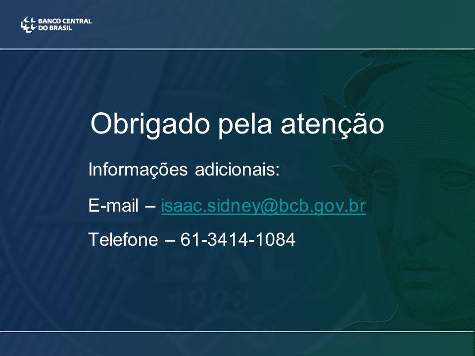 Obrigado pela atenção Informações adicionais: E-mail – isaac.sidney@bcb.gov.brisaac.sidney@bcb.gov.br Telefone – 61-3414-1084