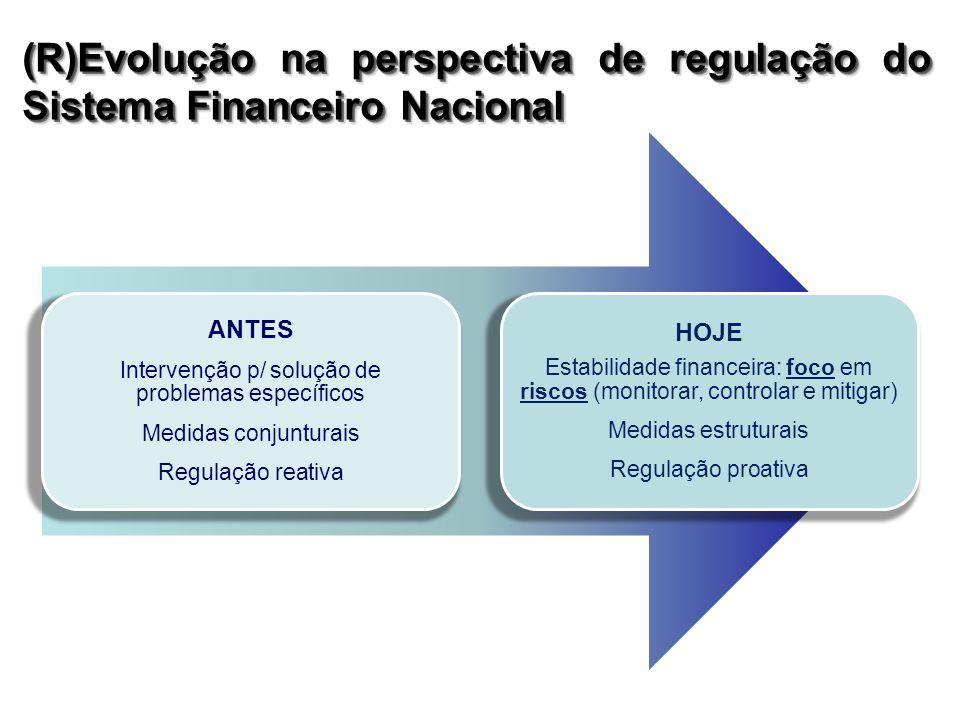 ANTES Intervenção p/ solução de problemas específicos Medidas conjunturais Regulação reativa HOJE Estabilidade financeira: foco em riscos (monitorar, controlar e mitigar) Medidas estruturais Regulação proativa (R)Evolução na perspectiva de regulação do Sistema Financeiro Nacional
