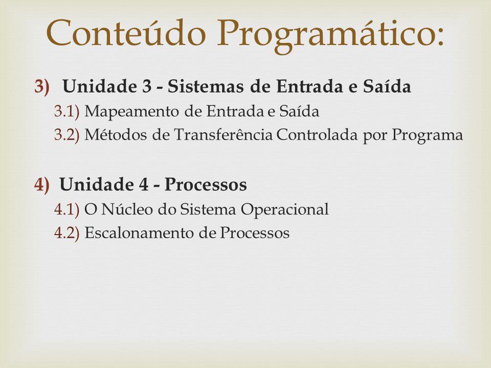 3)Unidade 3 - Sistemas de Entrada e Saída 3.1) Mapeamento de Entrada e Saída 3.2) Métodos de Transferência Controlada por Programa 4)Unidade 4 - Proce