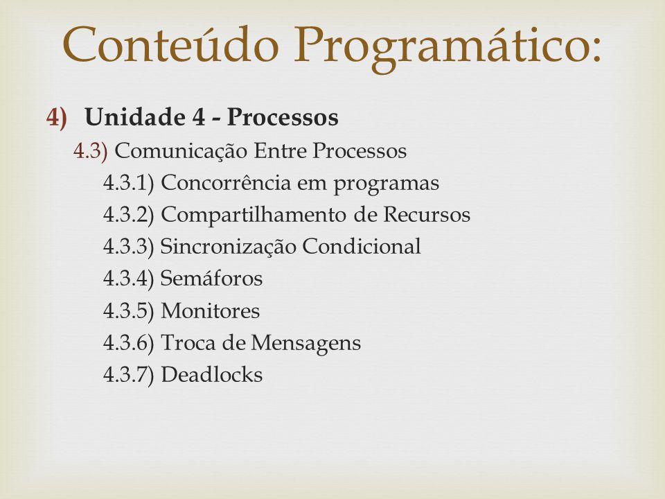 4)Unidade 4 - Processos 4.3) Comunicação Entre Processos 4.3.1) Concorrência em programas 4.3.2) Compartilhamento de Recursos 4.3.3) Sincronização Con