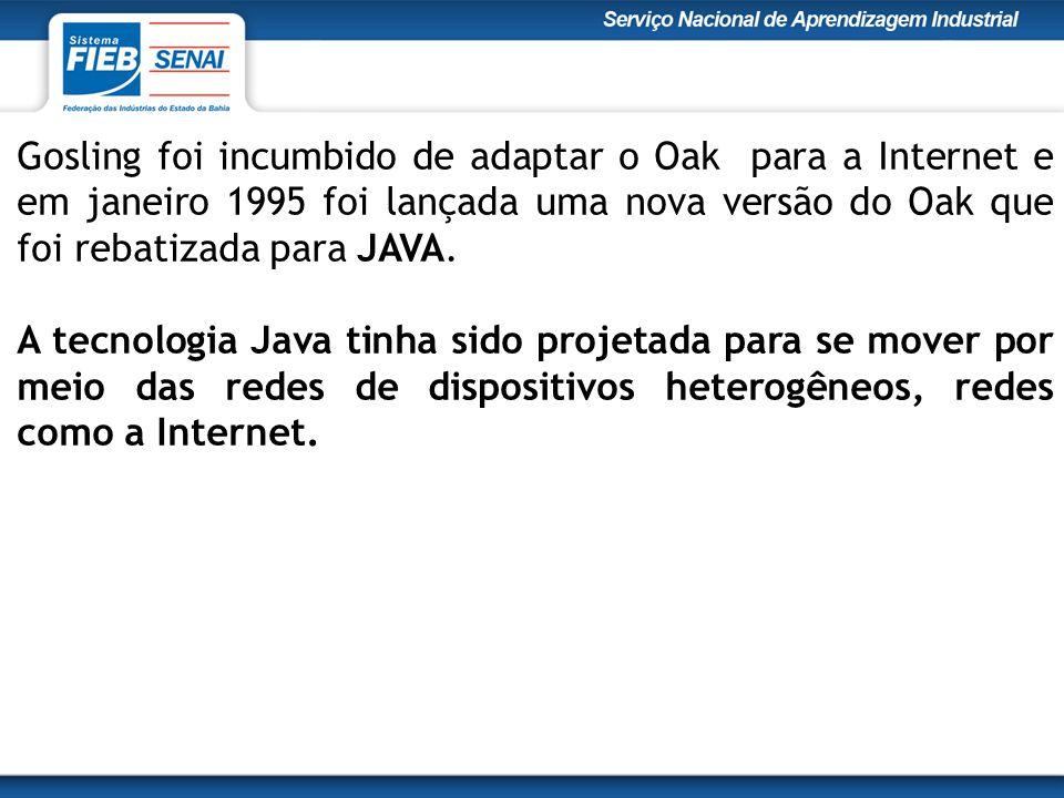 Gosling foi incumbido de adaptar o Oak para a Internet e em janeiro 1995 foi lançada uma nova versão do Oak que foi rebatizada para JAVA.