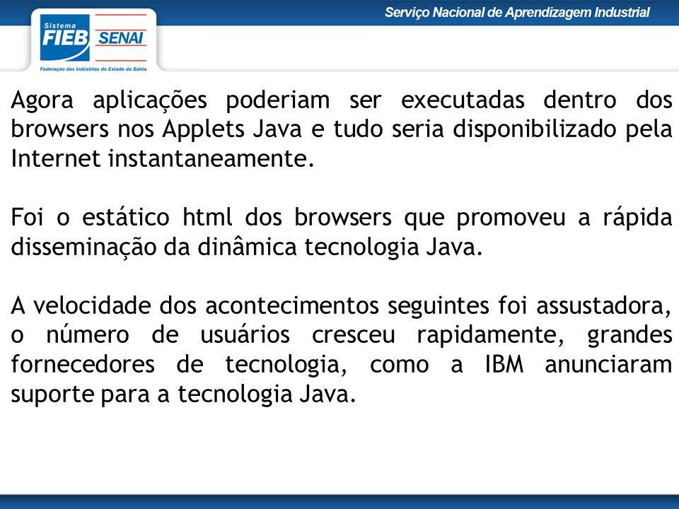 Agora aplicações poderiam ser executadas dentro dos browsers nos Applets Java e tudo seria disponibilizado pela Internet instantaneamente.
