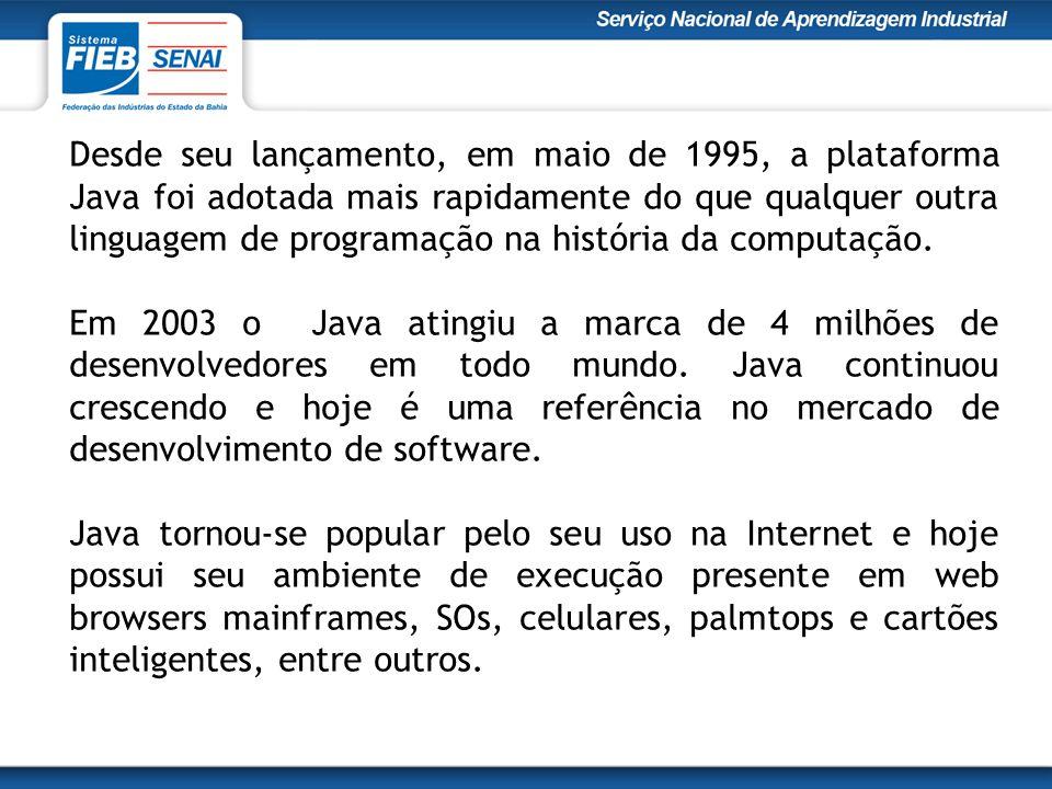 Desde seu lançamento, em maio de 1995, a plataforma Java foi adotada mais rapidamente do que qualquer outra linguagem de programação na história da computação.