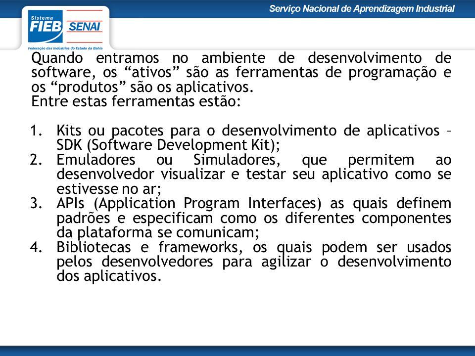 Quando entramos no ambiente de desenvolvimento de software, os ativos são as ferramentas de programação e os produtos são os aplicativos.