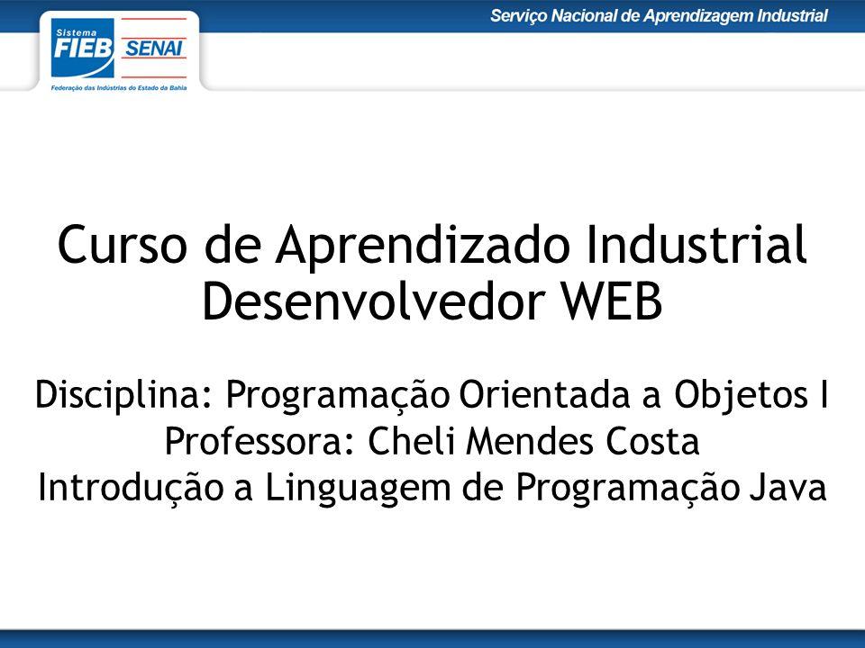 Curso de Aprendizado Industrial Desenvolvedor WEB Disciplina: Programação Orientada a Objetos I Professora: Cheli Mendes Costa Introdução a Linguagem de Programação Java
