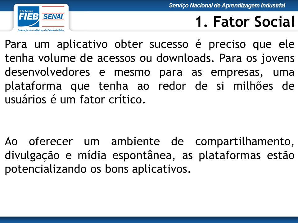 Para um aplicativo obter sucesso é preciso que ele tenha volume de acessos ou downloads.