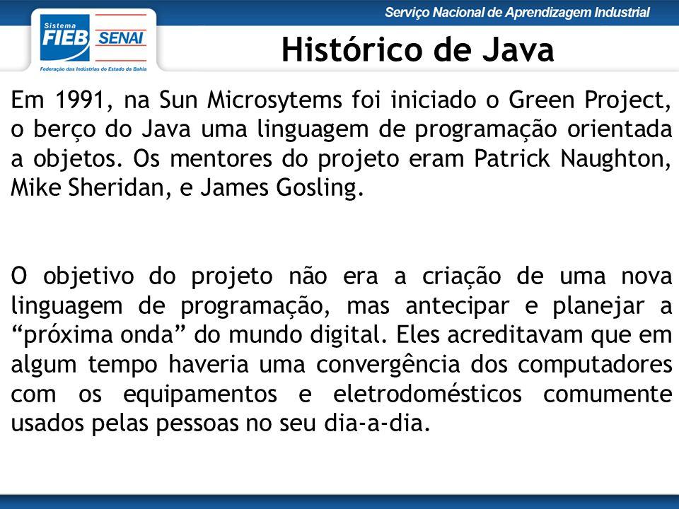 Em 1991, na Sun Microsytems foi iniciado o Green Project, o berço do Java uma linguagem de programação orientada a objetos.