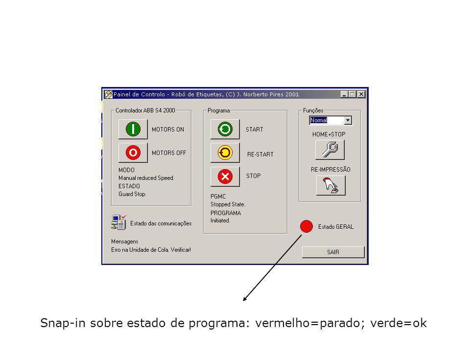 Snap-in sobre estado de programa: vermelho=parado; verde=ok