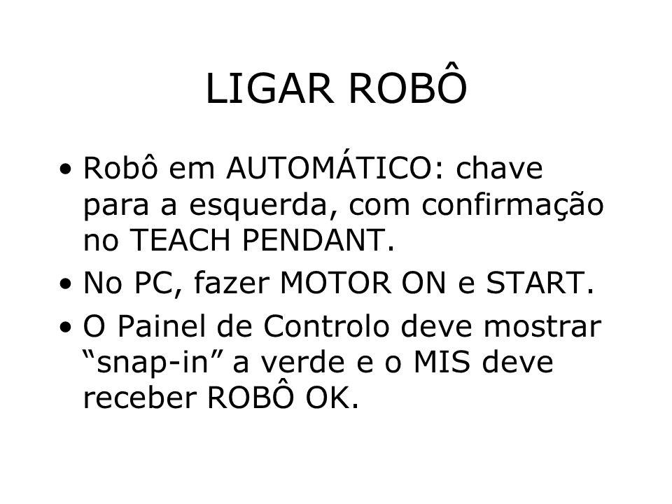 LIGAR ROBÔ Robô em AUTOMÁTICO: chave para a esquerda, com confirmação no TEACH PENDANT.