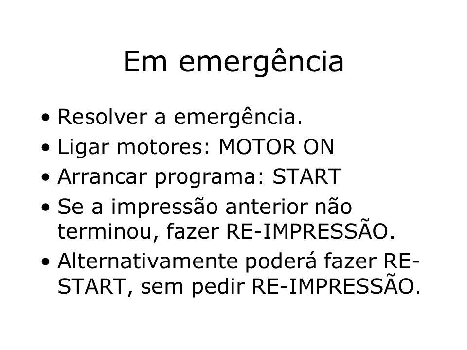Em emergência Resolver a emergência.