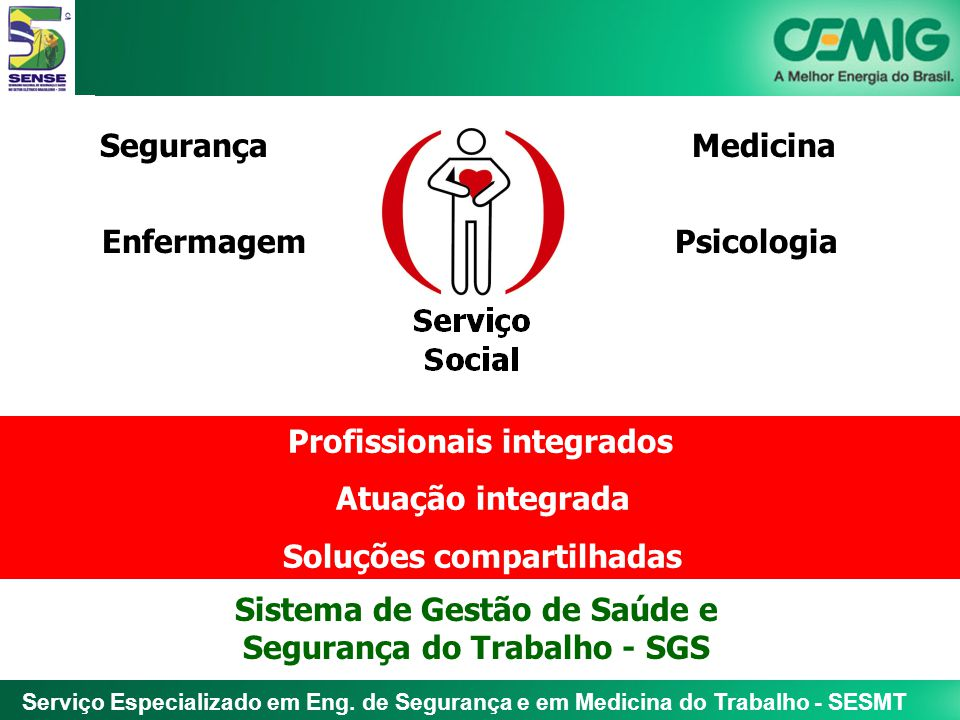 Serviço Especializado em Eng. de Segurança e em Medicina do Trabalho - SESMT SegurançaMedicina EnfermagemPsicologia Profissionais integrados Atuação i