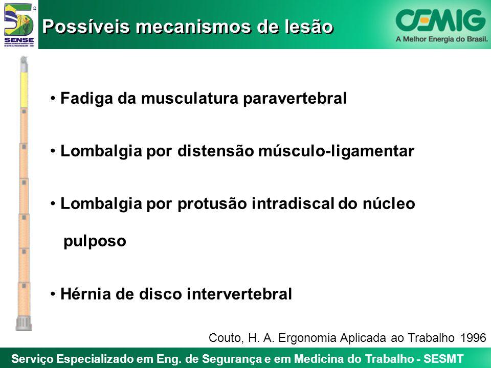Serviço Especializado em Eng. de Segurança e em Medicina do Trabalho - SESMT Fadiga da musculatura paravertebral Lombalgia por distensão músculo-ligam