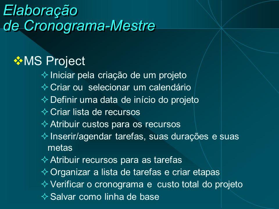 Elaboração de Cronograma-Mestre  MS Project  Iniciar pela criação de um projeto  Criar ou selecionar um calendário  Definir uma data de início do